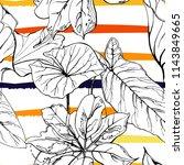 tropical  modern stripes motif. ... | Shutterstock .eps vector #1143849665
