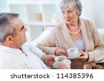 portrait of mature man and his... | Shutterstock . vector #114385396