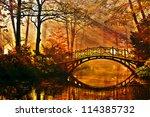 autumn   old bridge in autumn... | Shutterstock . vector #114385732