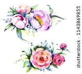 watercolor bouquet pink peony... | Shutterstock . vector #1143869855