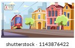modern tram running on rails in ... | Shutterstock .eps vector #1143876422