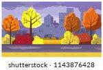 colorful trees under rain... | Shutterstock .eps vector #1143876428