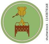 brazier and chicken icon.... | Shutterstock .eps vector #1143878168