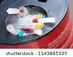 sharp objects including used... | Shutterstock . vector #1143885335