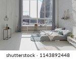 spacious stylish white loft... | Shutterstock . vector #1143892448