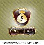 shiny emblem with money bag... | Shutterstock .eps vector #1143908858