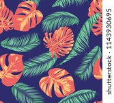 summer exotic floral tropical... | Shutterstock .eps vector #1143930695