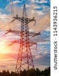high voltage power lines at... | Shutterstock . vector #1143936215