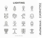 Lighting thin line icons set: bulb, LED, CFL, candle, table lamp, sunlight, spotlight, flash, candelabrum, bonfire, menorah, lighthouse, night aroma lamp. Modern vector illustration.