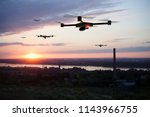 group of drones approaching the ... | Shutterstock . vector #1143966755
