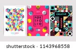 set of flyer templates with... | Shutterstock .eps vector #1143968558
