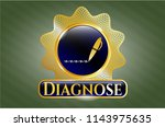 gold badge with writer icon... | Shutterstock .eps vector #1143975635