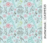 seamless doodle background with ... | Shutterstock .eps vector #114399535