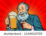 smiling old man with a mug of... | Shutterstock .eps vector #1144010705
