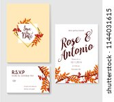 autumn wedding invitation... | Shutterstock .eps vector #1144031615