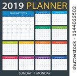 2019 calendar planner   sunday...   Shutterstock .eps vector #1144033502
