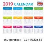 calendar 2019   english version ...   Shutterstock .eps vector #1144033658