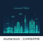 colombo skyline  sri lanka.... | Shutterstock .eps vector #1144064948