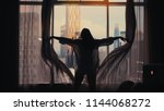 silhouette of young happy woman ... | Shutterstock . vector #1144068272