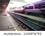 thai train arriving at station... | Shutterstock . vector #1144076792