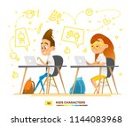 boy and girl characters... | Shutterstock .eps vector #1144083968