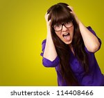 frustrated woman with mouth... | Shutterstock . vector #114408466