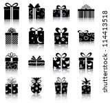 gift boxes   16 icons ... | Shutterstock .eps vector #114413518