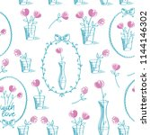 simple floral seamless pattern... | Shutterstock .eps vector #1144146302