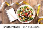 diet food  vegetable salad and... | Shutterstock . vector #1144163828
