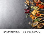 spices for cooking with kitchen ... | Shutterstock . vector #1144163972