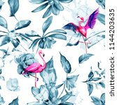 seamless background floral... | Shutterstock .eps vector #1144203635