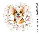 Dog Corgi In A Wreath Of...