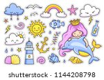 mermaid with dolphin. sun ... | Shutterstock .eps vector #1144208798