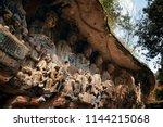 dazu rock carvings as the world ...   Shutterstock . vector #1144215068