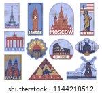 vintage paper landmarks travel... | Shutterstock .eps vector #1144218512