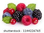 fresh berries isolated on white ... | Shutterstock . vector #1144226765