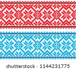 national pixel pattern. red and ... | Shutterstock .eps vector #1144231775
