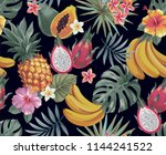 tropical seamless pattern with... | Shutterstock .eps vector #1144241522