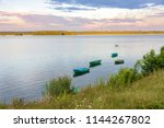 boats on the pogoria iv lake at ... | Shutterstock . vector #1144267802