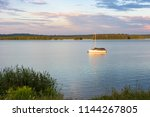 yacht on the pogoria iv lake at ... | Shutterstock . vector #1144267805
