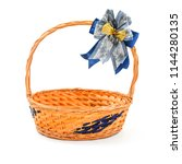 empty wood basket with bow... | Shutterstock . vector #1144280135