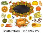 autumn set of elements with... | Shutterstock .eps vector #1144289192
