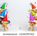 cute cartoon sheep smile... | Shutterstock . vector #1144295762