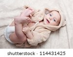 Stock photo portrait of a beautiful baby girl 114431425