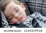 sweet sleeping baby doses off... | Shutterstock . vector #1144319918