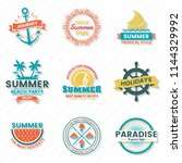 summer retro vector logo for... | Shutterstock .eps vector #1144329992