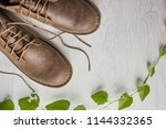 close up vintage leather shoes... | Shutterstock . vector #1144332365