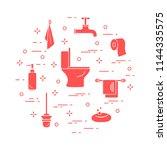 toilet bowl  toilet paper  soap ... | Shutterstock .eps vector #1144335575