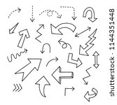 set of handwritten arrow ... | Shutterstock .eps vector #1144351448