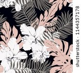 elegance pattern with flowers... | Shutterstock .eps vector #1144357178